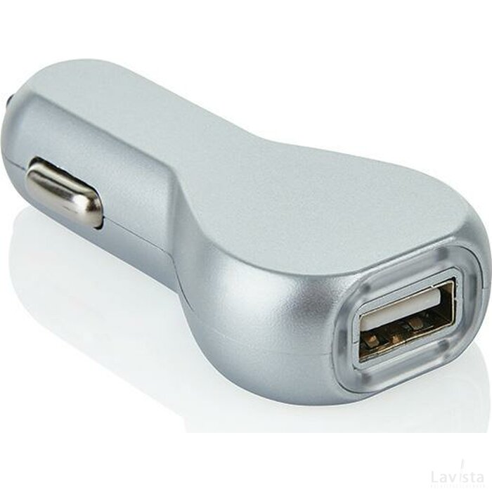 USB auto oplader, zilver