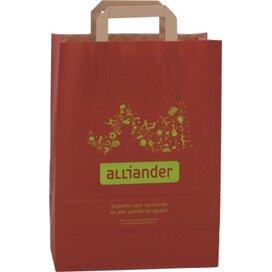 Papieren tas met plat hengsel 220 x 280 x 100 mm. rood