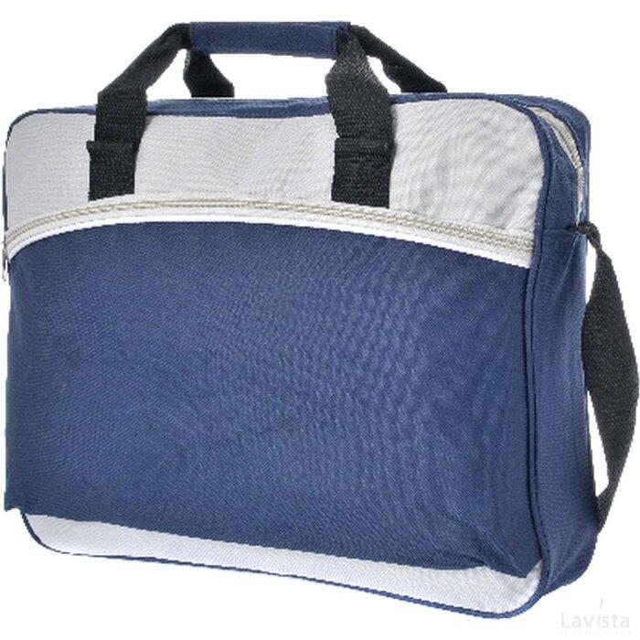 Documententas met voorvak en riem polyester 600D donkerblauw