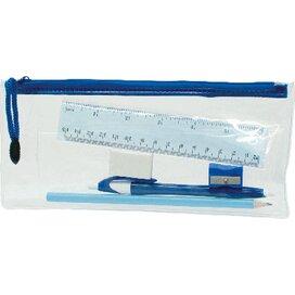 Transparant etui met pen, potlood, lineaal, gum, puntenslijper donkerblauw