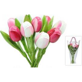 Boeket 9 houten tulpen Pink-White