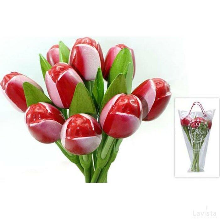 Boeket 9 houten tulpen Red-White