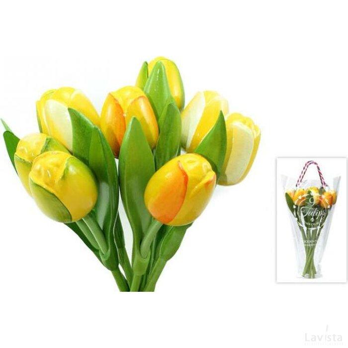 Boeket 9 houten tulpen Yellow