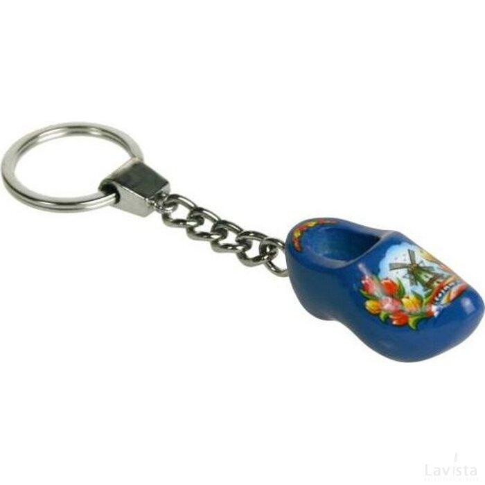 Sleutelhanger met een klompje Tulp blauw