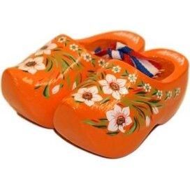 Souvenirklompje 6,5 cm Oranje met bloemmotief