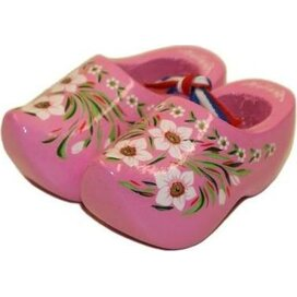 Souvenirklompje 6,5 cm Roze met bloemmotief