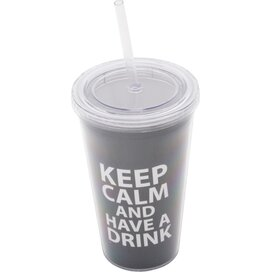 Keep Calm Cup and Straw Grey