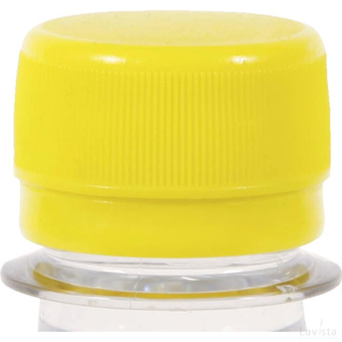 Ronde waterfles 500 ml met platte dop geel