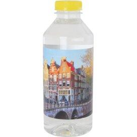 Ronde waterfles 330 ml met platte dop geel