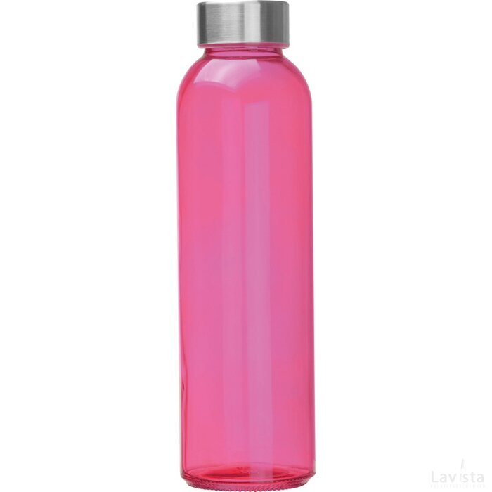 Glazen drinkfles met RVS sluiting roze