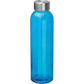 Glazen drinkfles met RVS sluiting blauw