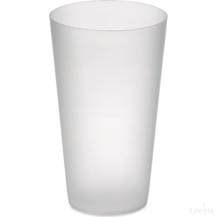 Frosted pp cup 550 ml Festa cup transparant wit
