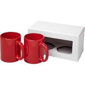 Ceramic mok 2 delige geschenkset Rood