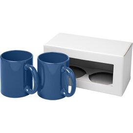 Ceramic mok 2 delige geschenkset blauw