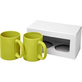 Ceramic mok 2 delige geschenkset Lime