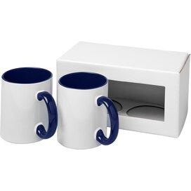 Ceramic sublimatie mok 2 delige geschenkset blauw