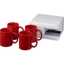 Ceramic mok 4 delige geschenkset Rood