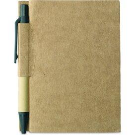 Notitieblok en gerecyclede pen Cartopad Zwart