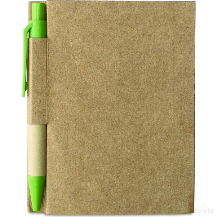Notitieblok en gerecyclede pen Cartopad Lime groen
