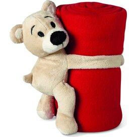 Fleece deken met beer Manta Rood