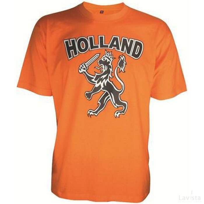 Oranje Kinder T-shirt Met Print, Ronde Hals
